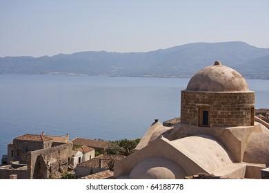 View on downtown Monemvasia at the Greek Peloponnese, church