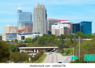 View on Downtown Raleigh, NC USA April 2017. Raleigh is recognized as one of the best places to live in the USA.