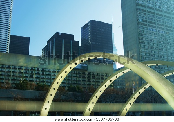 View on Downtown of Toronto through arches of Nathan Philip Square.