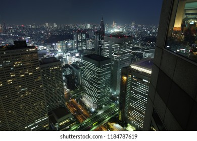 View on downtown Toyko at night from a Shinjuku skyscraper