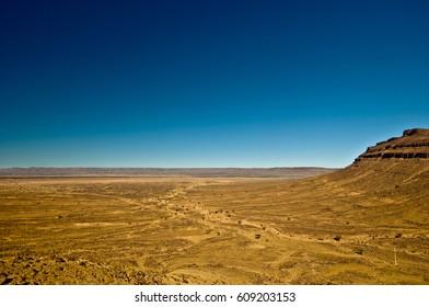 View on dry Hamada desert in Morocco