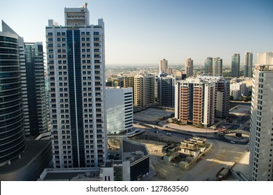 View on Dubai district Tecom from 21st floor