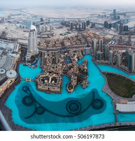 View on The Dubai Fountain from Burj Khalifa, Dubai, UAE
