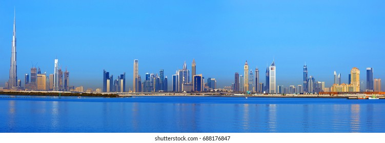 View on Dubai skyline and water canal from the Dubai Creek at the sunrise, Dubai, United Arab Emirates