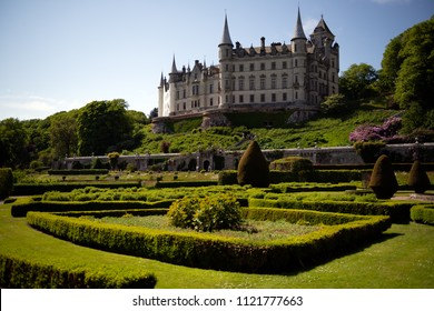 View on the Dunrobin Castle form the garden. The Castle is the family seat of the Earl of Sutherland and the Clan Sutherland.