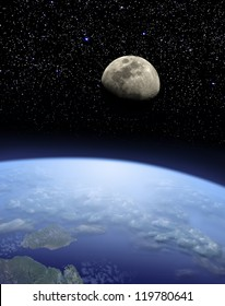 view on Earth and Moon from space