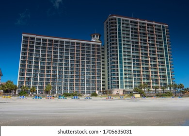 View on the East Coast of the United States, large and continuous stretch of beach known as the Grand Strand, Myrtle Beach, Horry County, South Carolina, USA