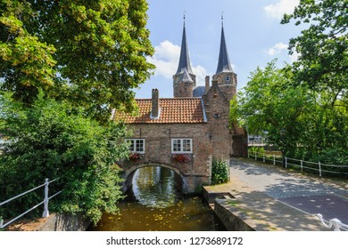View on the Eastern Gate, an old city gate of Delft, the Netherlands. This gate build around 1400 is the only remaining city gate of Delft.
