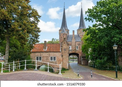 View on the Eastern Gate, an old city gate of Delft, the Netherlands. This gate build around 1400, is the only remaining city gate of Delft.