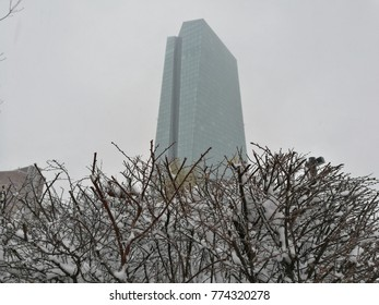 view on ECB building in winter, snow and fog, Frankfurt am Main, Germany, december 2017