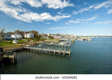 view on Edgartown Harbour, Martha�´s Vineyard, New England, Massachusetts, USA, Blick auf den Hafen von Edgartown auf Marthas Vineyard, Neu England
