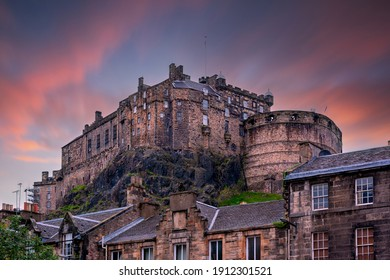 view on Edinburgh Castle from Heriot place during sunset, Edinburgh, Scotland, UK