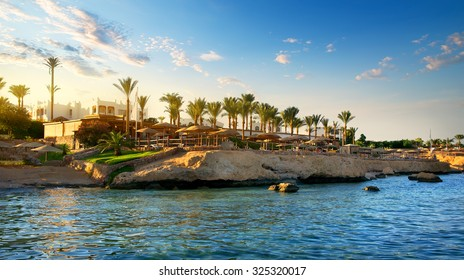 View on egyptian hotel from the red sea