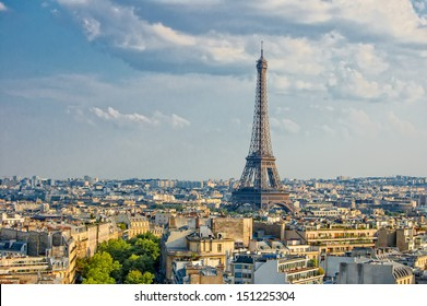 View on Eiffel Tower from Arc de Triomphe, Paris, France