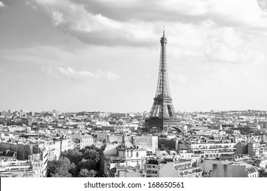View on Eiffel Tower from Arc de Triomphe (black and white), Paris, France