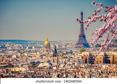 View on Eiffel Tower in Paris at spring, France