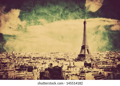 View on the Eiffel Tower and Paris from Arc de Triomphe. Vintage retro style. Tour Eiffel