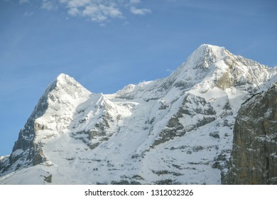 View on Eiger and Monch peaks in Bernese Alps, Switzerland