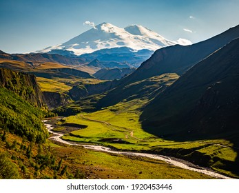 A view on Elbrus mountain and Malka river valley. Dzhili-Su, Republic of Kabardino-Balkaria, Russia.