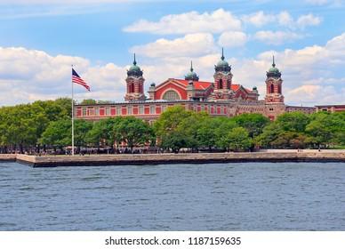 View on Ellis Island, USA, in New York Bay