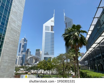 View on Emirates Towers in Dubai International Financial Center (DIFC), April 6th, 2021