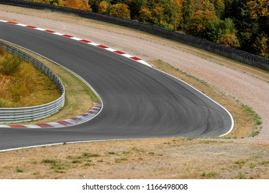 View on empty race track circuit with red white curbs motorsport concept racing background