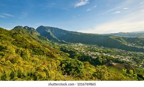 View on entre-deux village, Reunion Island