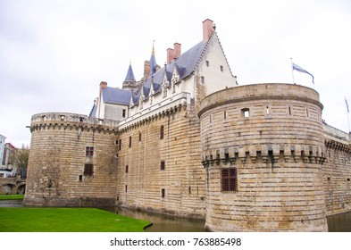 View on the external walls of Breton Castle in Nantes, France