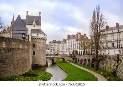 View on the external walls of Castle of the Dukes of Brittany in Nantes