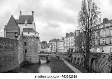View on the external walls of Castle of the Dukes of Brittany in Nantes in black and white