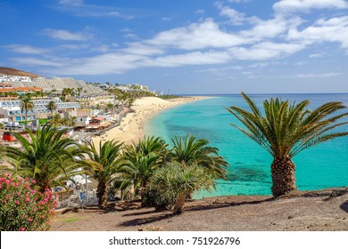 View on a famous beach Playa del Matorral in Morro Jable on the Canary Island Fuerteventura, Spain.