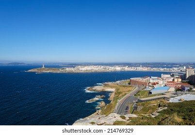 View on the famous lighthouse or Hercules Tower of A Coruna, Galicia, Spain. This lighthouse is more than 1900 years old and is the oldest Roman lighthouse in use today.
