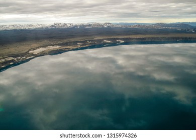 View on the famous mountain Askja and lake in Iceland from a plane