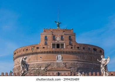 View on famous Saint Angel castle in Rome, Italy.