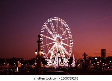 View on Ferris Wheel in Paris, France, at sunset