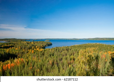 View on finnish landscape - Land of thousands lakes surrounded by forests
