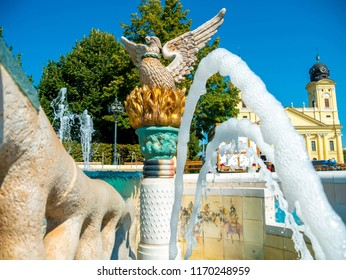 View on a fountain in Debrecen, Hungary, Europe on a sunny day.