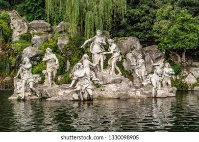 View on the fountain of Diana and Actaeon of the Royal Palace of Caserta. June 2018 Caserta, Campania - Italy
