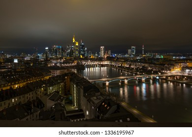 View on Frankfurt am Main at night.