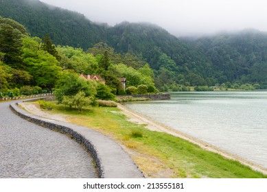 View on Furnas Lake, Azores, Portugal, Europe