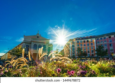 View on Gaertnerplatz square and thater in Munich, Germany