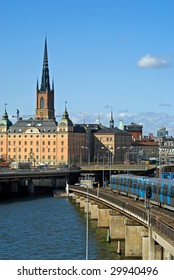 View on Gamla Stan and subway, Stockholm, Sweden