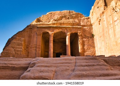 View on garden hall at Petra historical site in Jordan. Travel and tourism.
