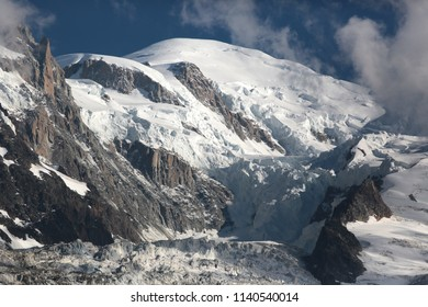 View on a glacier underneath Mont Blanc in Chamonix, France