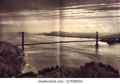 View on Golden Gate Bridge and San Francisco Photo style in vintage colors with added paper texture effect