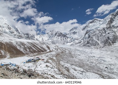 View on Gorak Shep village, Khumbu glacier, mount Nuptse and Everest base camp - Himalayas, Nepal