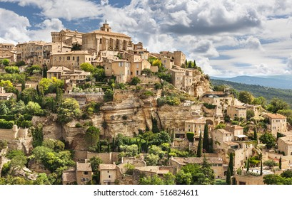 View on Gordes town at sunset in France.