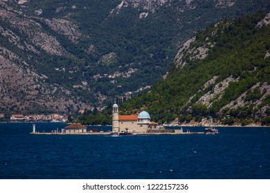 View on Gospa od Skrpela Island in the Boka Kotorska Bay from Kostanjica, Montenegro