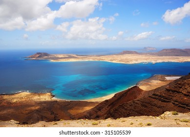 View on the Graciosa island from the high coast of Lanzarote