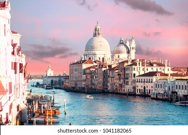 View on Grand canal in venice from Academia bridge